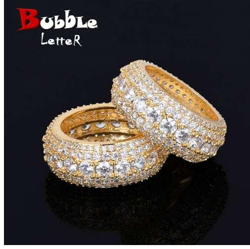5 Row CZ Men's Ring 18 K Copper Charm Gold Silver Color Cubic Zircon Iced RING Fashion Hip Hop Jewelry