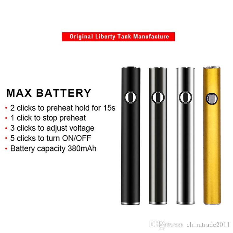 Orijinal Amigo Max Vape Pil 380mAh Ön ısıtma 510 Konu Vape Kalem Pil Vape Kartuşları Pil Değişken Voltaj Otantik Piller