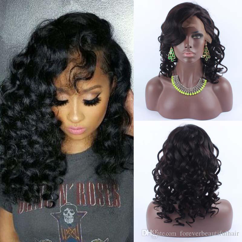 """14"""" Natural Scalp Silk Top Frente Lace Wigs cabelo encaracolado peruano peruca dianteira do laço com base de seda com cabelo do bebê 130 densidade"""