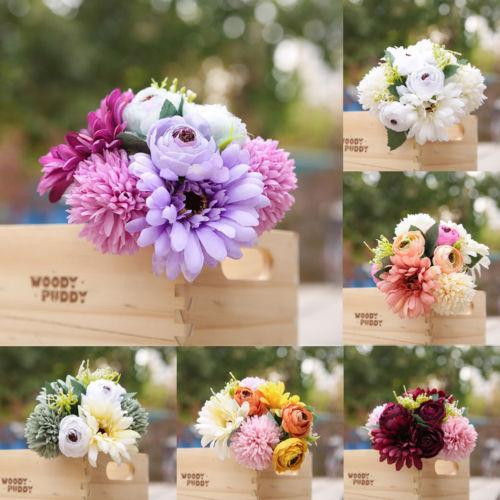 1 Bouquet artificiel Faux floral tête Camélia soie Fleur nuptiale de mariage Hydrangea Maison Jardin Fleur Décor