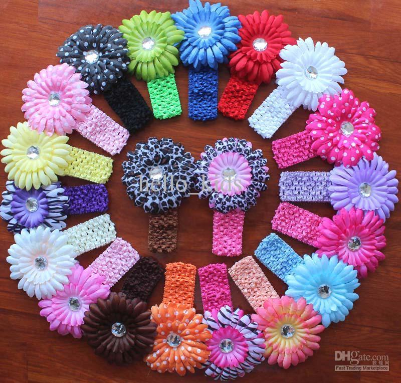 Las vendas del bebé de buena calidad + flor Establece fotografía apoya los accesorios del pelo de la pinza de pelo material barato muchacha de los niños