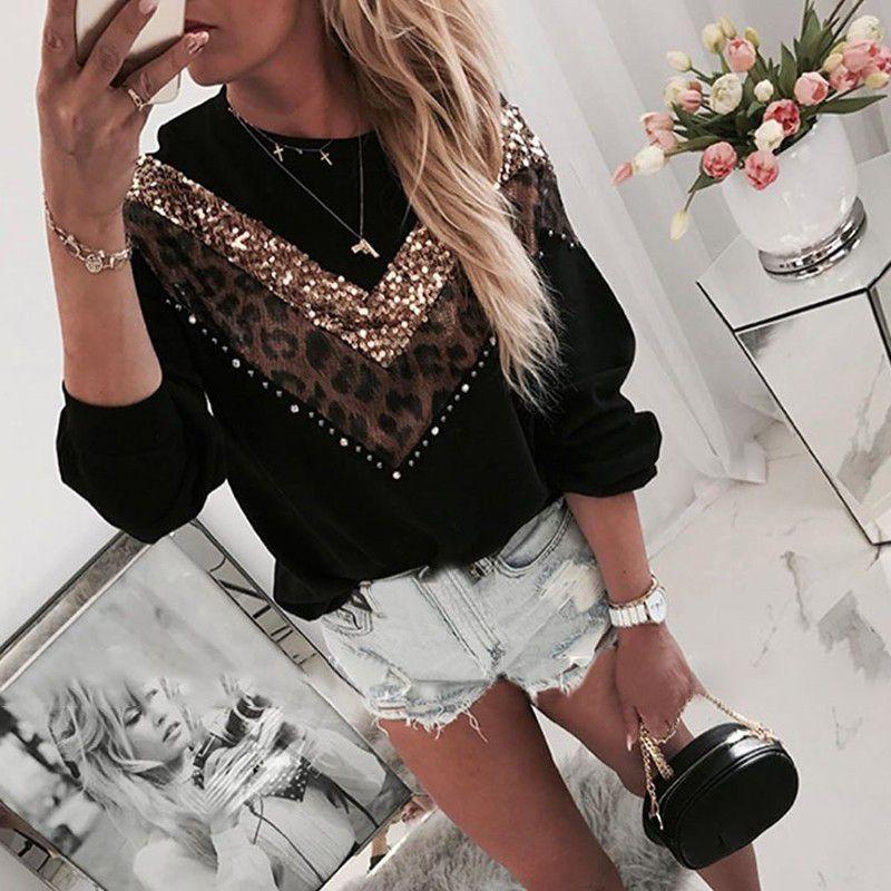 여자 풀오버 캐주얼 반짝이 Lepoard 패치 워크 셔츠 여성 긴 소매 검은 색 T 셔츠 팜므 느슨한 스웨터 플러스 크기 탑 당겨