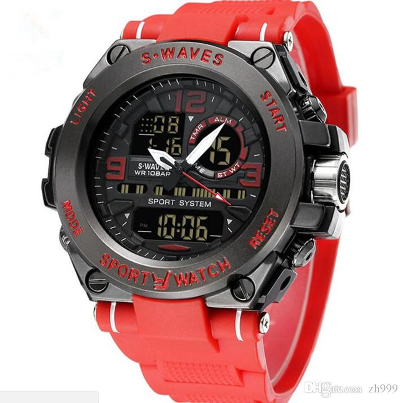 Watch fashion brand casual LCD dual display military men's watch waterproof silicone belt electronic quartz watch