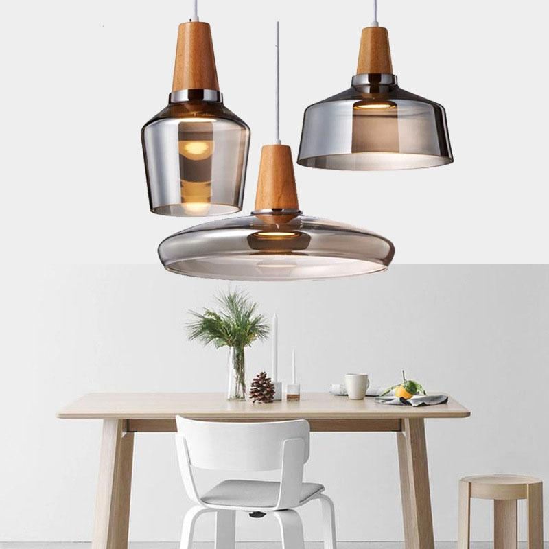 Glass Pendant Light Wood Pendant Lamp Bar Loft Industrial Decor Lighting Fixture