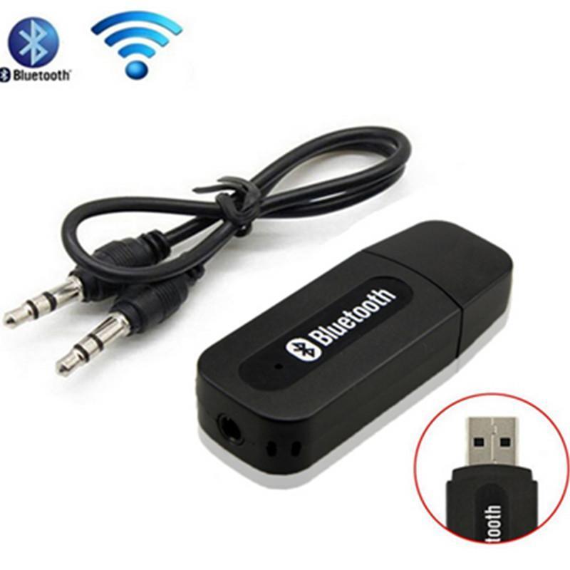 100pcs Mini Media Receiver USB drahtlose Bluetooth-Stereo-Musik-Empfänger-Adapter für Lautsprecher mit 3,5 mm Audio-Kabel