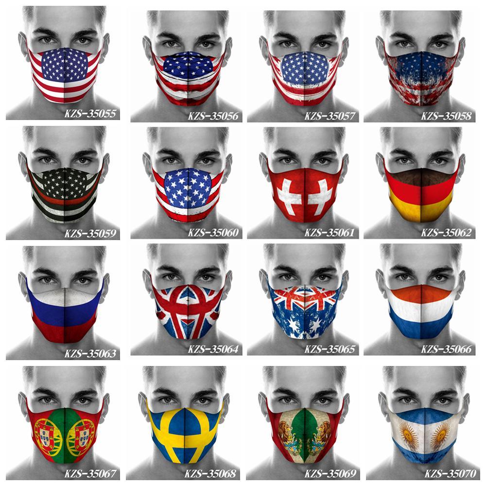 16styles Drapeau imprimé masques sports de plein air 3D drapeau hommes et les femmes en plein air bouche couverture du visage bouche des masques designer de drapeau FFA4025