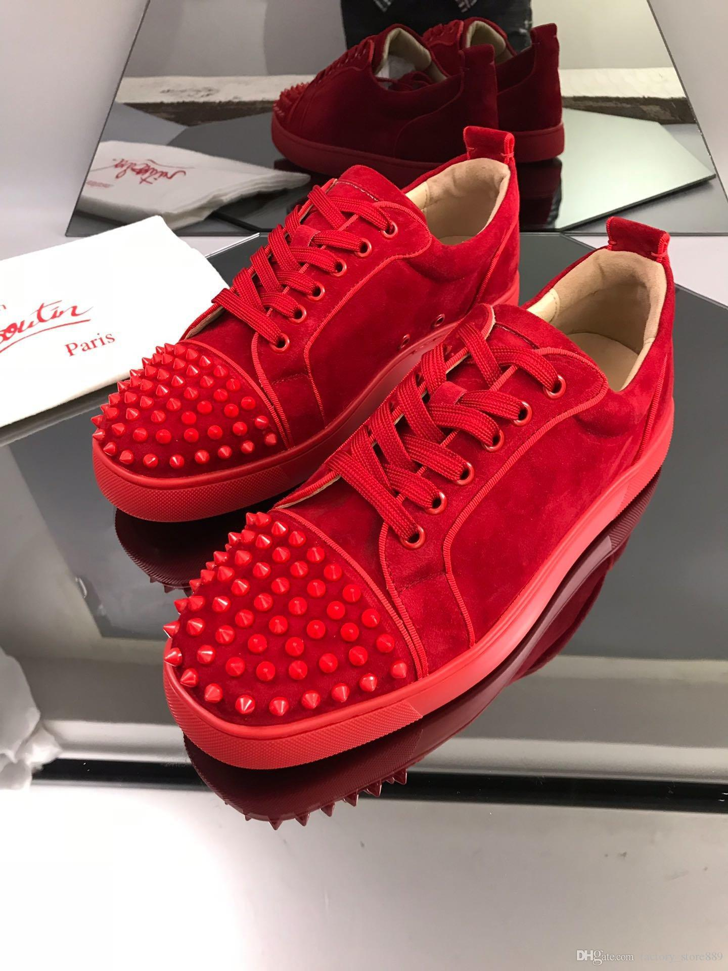Red Shoe Low Cut Suede Spike Shoes
