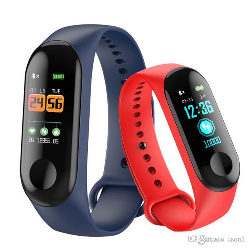 M3 Смарт Wristband Цветной экран USB зарядный давления смарт-браслет сердечного ритма крови Bluetooth браслеты смарт-диапазона Для Android IOS