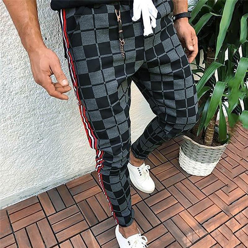 pantalone elastico in vita per pantaloni caldi dell'uomo di modo degli uomini di Lattice inverno matita quotidiani uomo Plaid coulisse lungo più caldi dei pantaloni