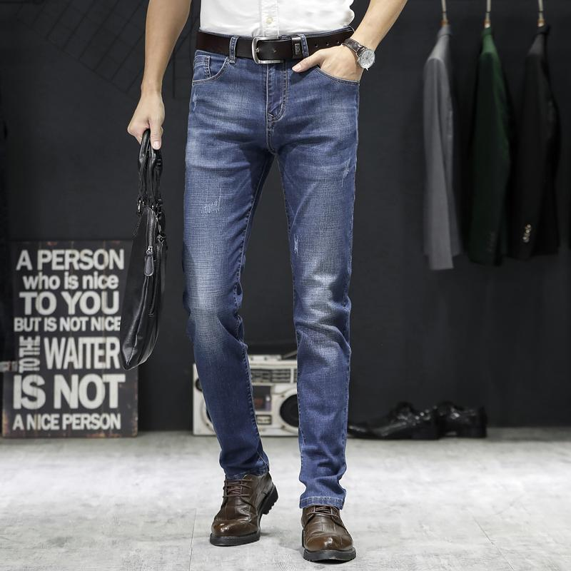 Tempo libero jeans stretch denim pantaloni solidi Slim Fit Jeans Uomo Casual Biker denim maschile Via Vintage pantaloni slim-fit Pant