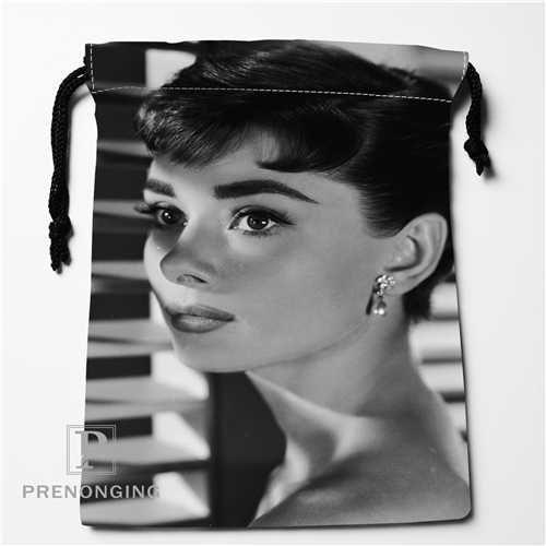 Audrey Hepburn personalizada bolsos de lazo manera de la impresión del recorrido del almacenaje Mini bolsa Swim Senderismo bolsa de juguete Tamaño 18x22cm # 171208-14