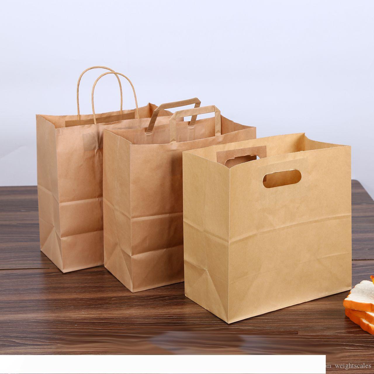 28x28+15 cm kraft paper bread bag packaging tote handle brown die cut baguette punching baking portable paper bag custom LOGO