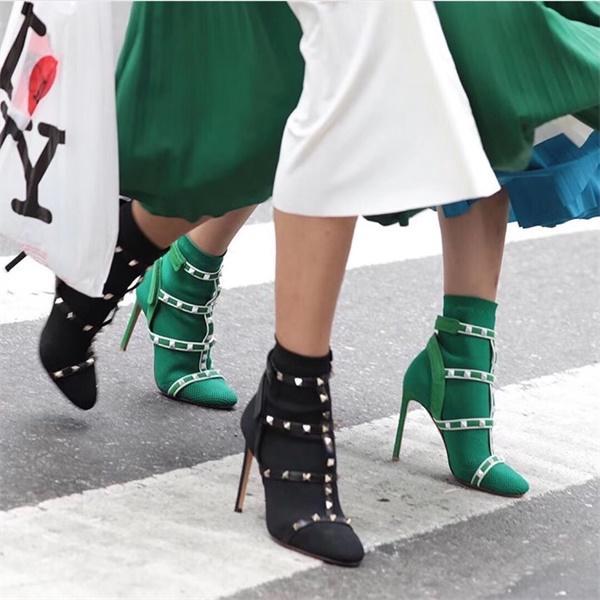 Heiße Verkaufs-Art- und Stiefel Frauen Martin Ankle Boot Designer-Bügel-Bolzen-Socken-Beuten beledert Stretch Knit-Socken-Cowboystiefel