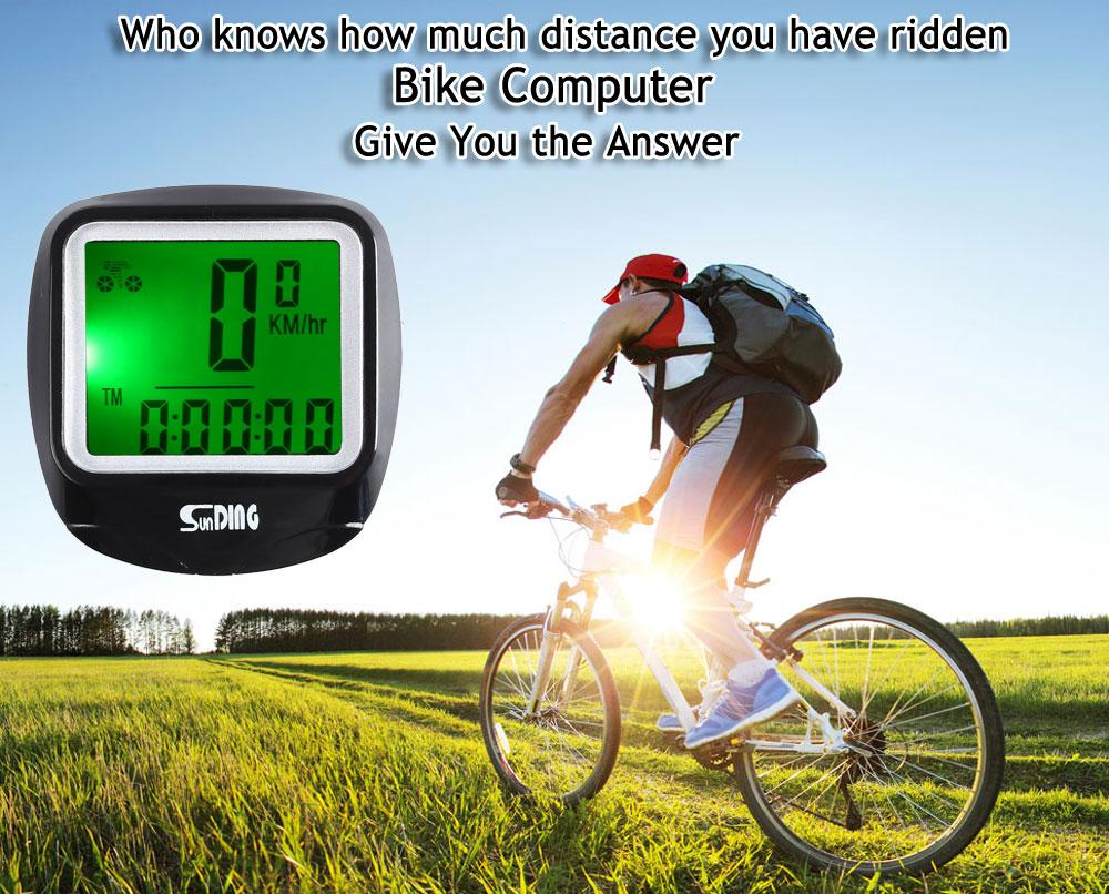 Wired Bicycle Computer Wired Stopwatch Water Resistant Cycling Odometer Speedometer Waterproof LCD Display Bike Computer with Backlight