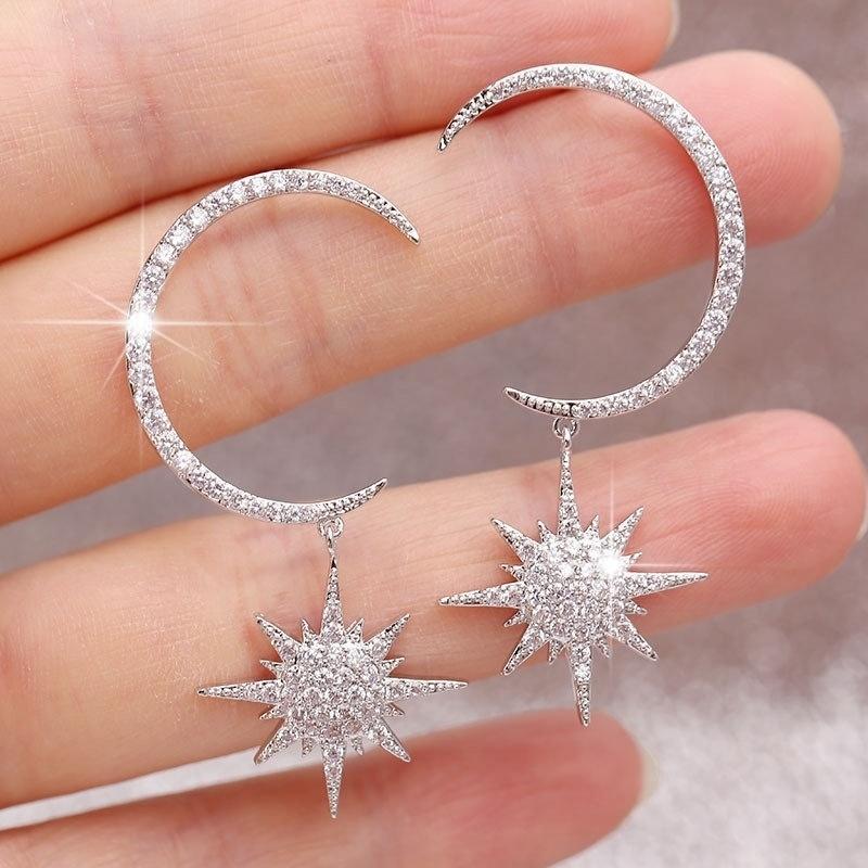 Sparkly 925 prata 14k ouro pendurando lua e estrela brincos starburst lua crescente dangle brinco presente para ela