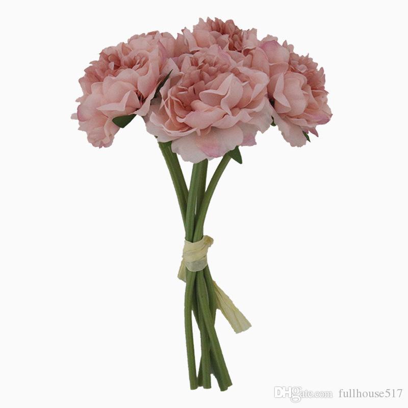 Artificial Rose Flores Peônia Bouquet para Decoração de Casamento 5 Cabeças Peônias Flores Falsas Decoração de Casa Hortênsias De Seda Flores Decorativas