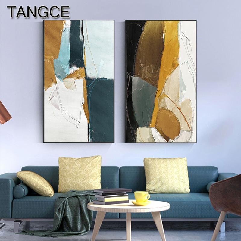 Abstract Green Giallo su tela Blu Moderno Poster Print Moda Tableaux HD arte della parete per il salone Big Size Ingresso Immagine