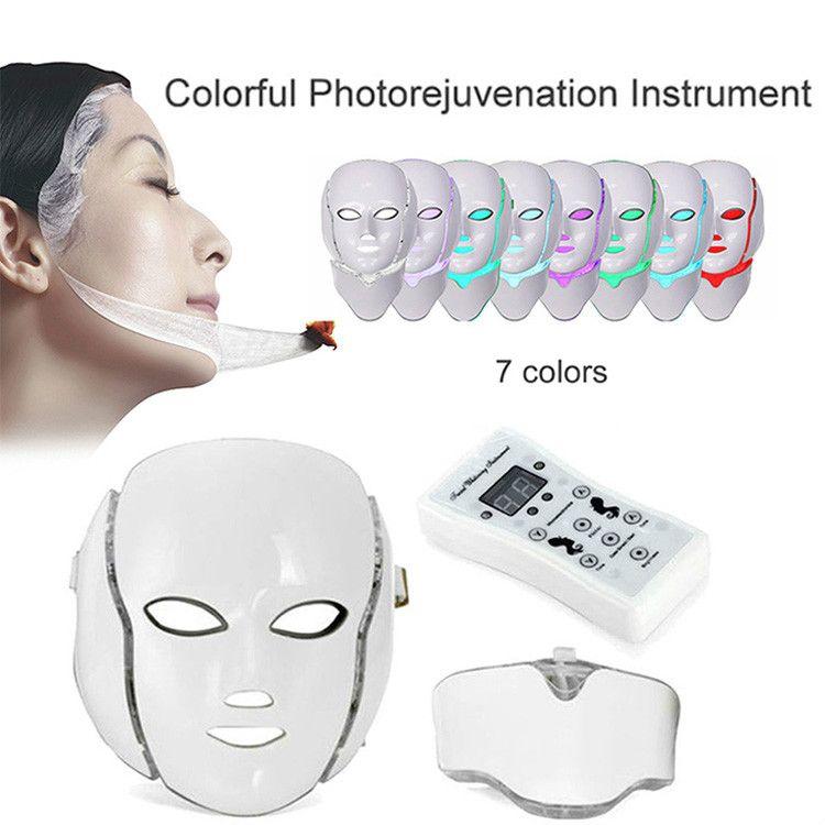 Терапией света PDT Сид маска для лица с 7 цветов фотона для лица и шеи домашнего использования омоложения кожи LED Маска