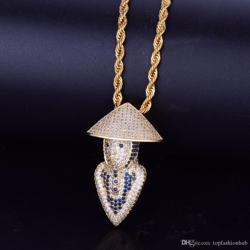 Hip Hop desgasta o chapéu de bambu Fishman Pendant Zircon Copper jóias homens com ouro branco banhado a ouro Tennis jóias colar de corrente