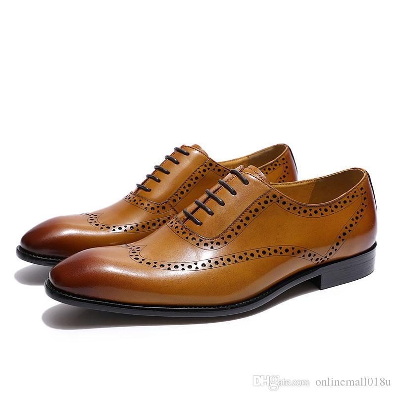 Brogue Wingtip Toe Oxford Chaussures en cuir véritable Chaussures habillées en cuir brun jaune