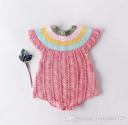 Baby Designerkleidung Spielanzug-Säugling gestrickter Entwurf ärmelRegenBogen Kragen Body aus 100% Baumwolle Sommer Frühling Kleidung