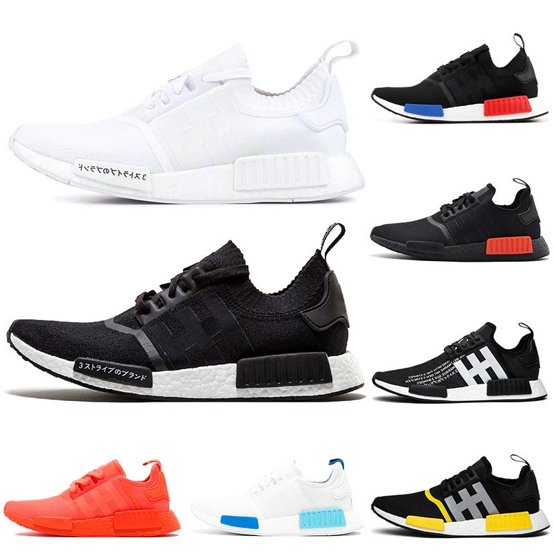 2019 Wholesale R1 Shoes Discount Cheap oreo Thunder triple black Japan white red Runner Primeknit Mens Womens shoes Classic Fashion Sports