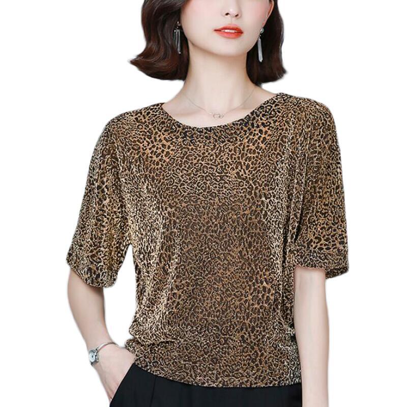 Parlak Simli Kadınlar Bluzlar Yaz Kısa Kollu Moda Leopard Parlak İpek Dantel Bluz Kadınlar Gömlek Plus Size Kadınlar Tops yazdır
