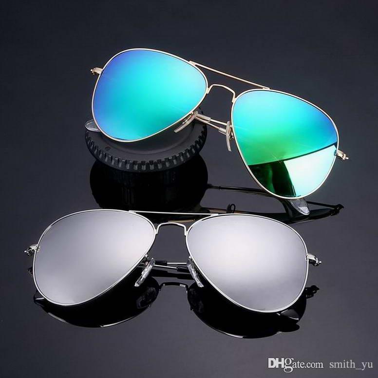 Мода 2019 Pilot Солнцезащитные очки Мужчины Женщины 58 мм Зеркало UV400 Дизайнерские Пилоты Марка Металлическая Рамка Крутые Очки Вождение Солнцезащитные Очки с случаями