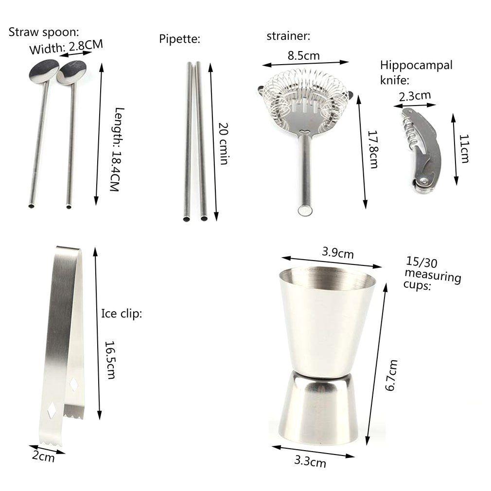 12pcs acier inoxydable Coquetelier Mixer Martini vin Set shaker avec support en bois pour Barman Drink Party Bar Outils