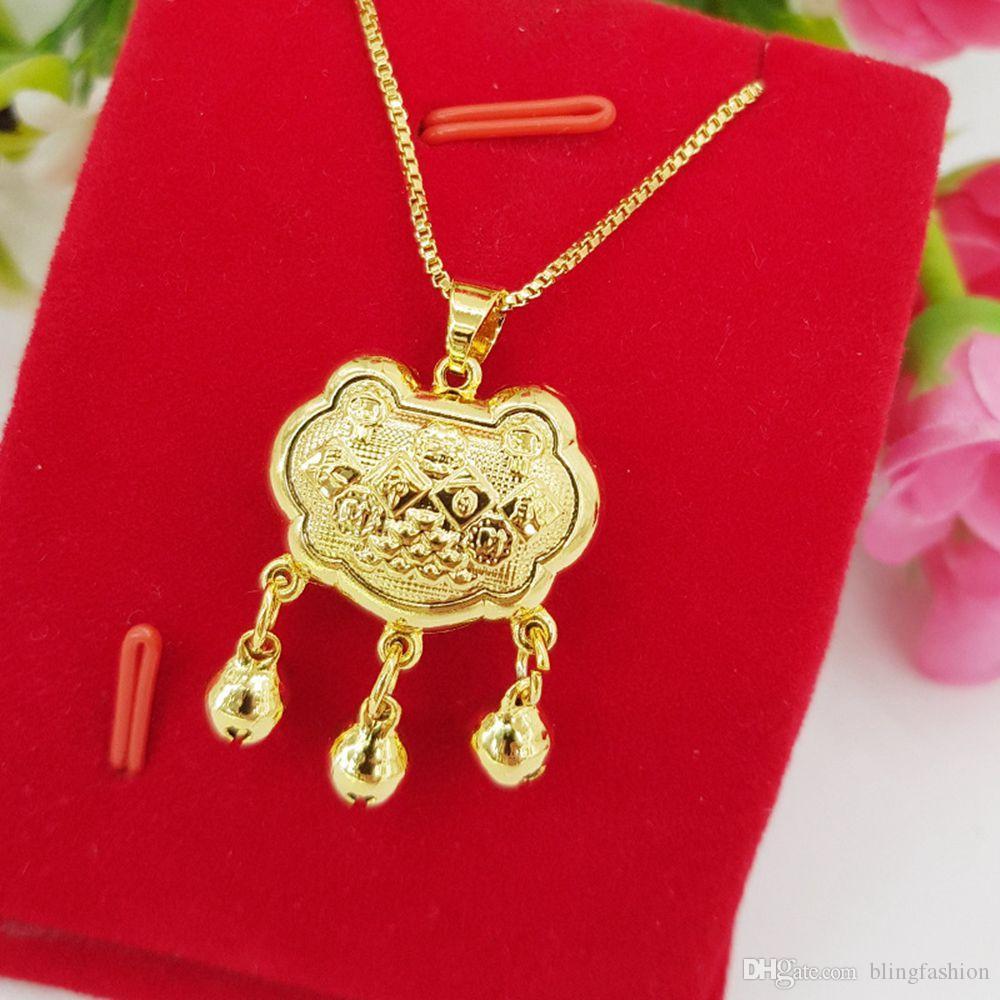 Прекрасные Детская Padlock ожерелье 18k желтого золота Заполненные младенца способа шарма подарка Дети Present