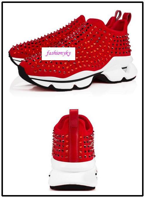 Piatto neoprene scarpe da ginnastica di marca Mens Red Bottoms Scarpe Donna Rivetto Spiky calzino Junior picchi di rosso suola di scarpa 0