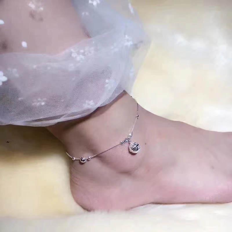 Moda New Arrival Hollowed Sino Forma Jóias Decor Anklet Quality Real prata esterlina 925 mulheres tornozeleira moda