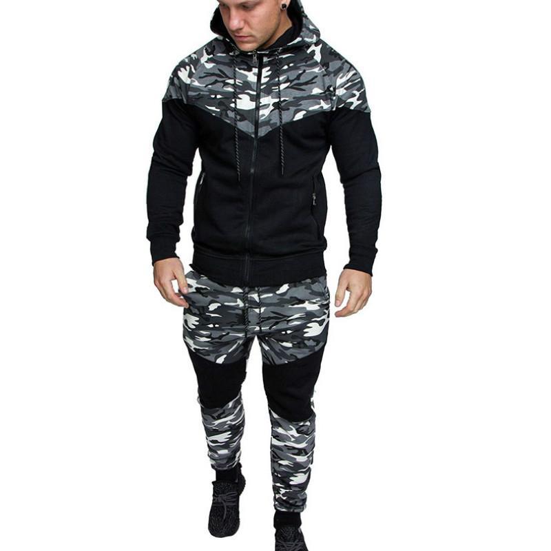 Mens Designer Tute Camouflage 2 pezzi Set di lusso chiusura lampo Marca attrezzatura casuale Moda Primavera L-5XL Tuta 2020 Nuovo commercio all'ingrosso