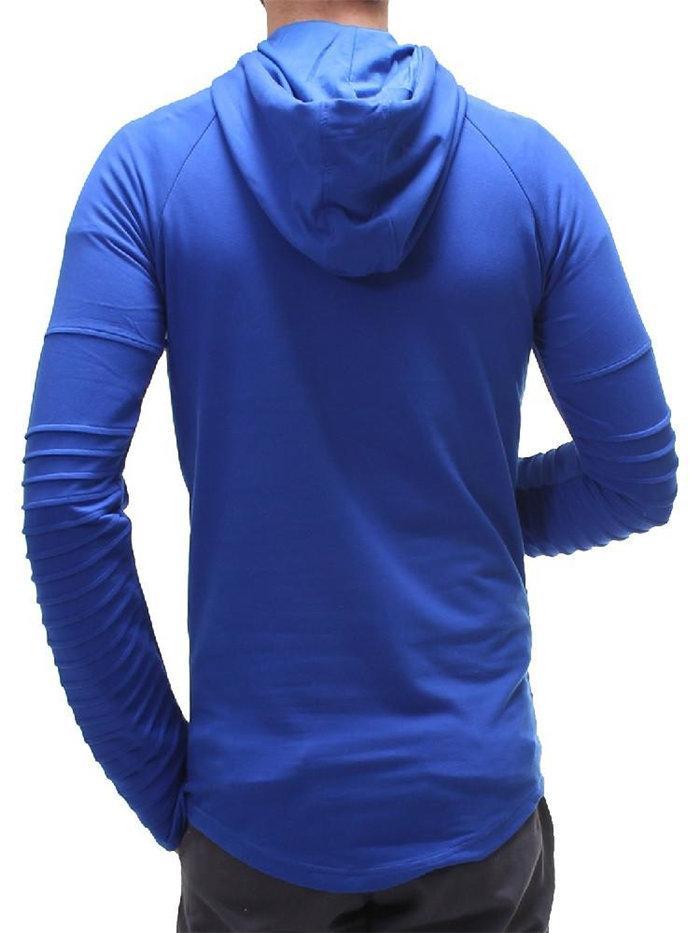 Spring Mens Slim Fold Designer Taille Sweats à capuche plus Sweat-shirt à manches longues Streak Solide Couleur Vêtements pour hommes