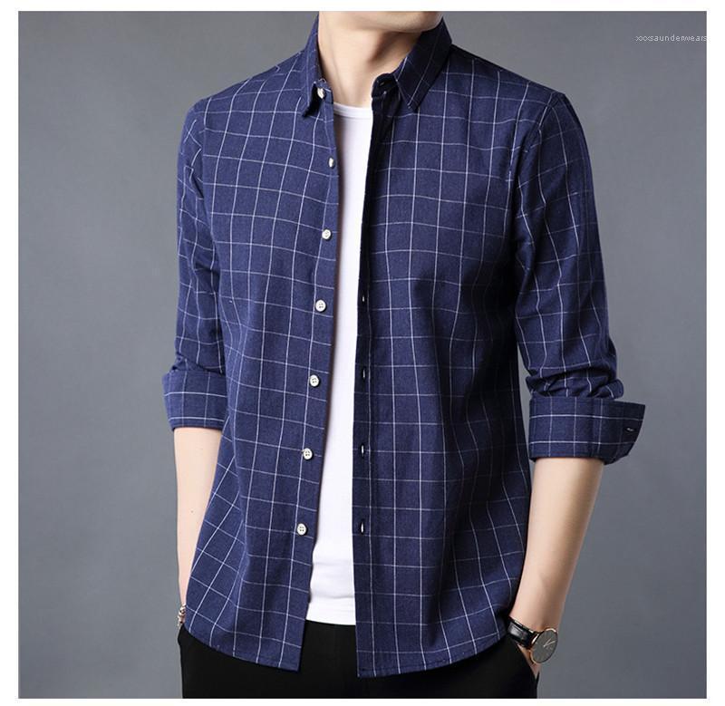 Plaid camisa de manga comprida Moda lapela Neck Slim Fit Casual roupa masculina Designer camisa dos homens