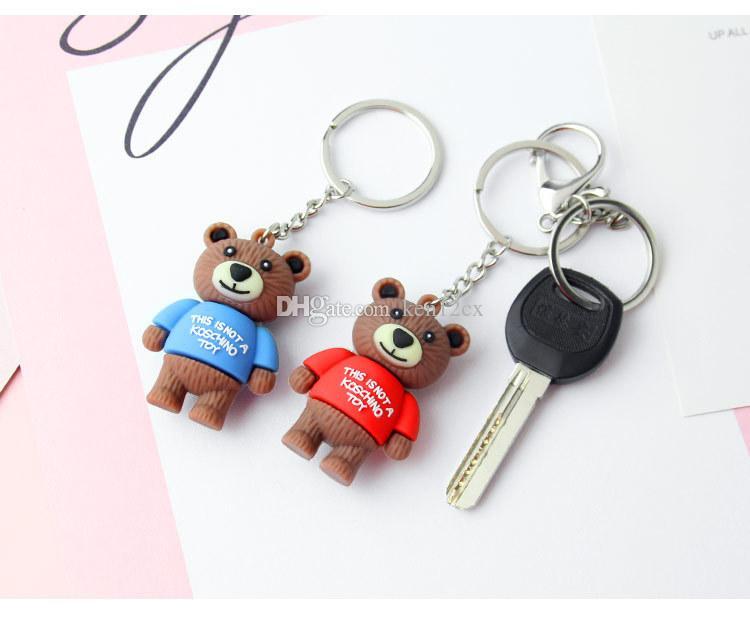 New 3D cartoon Little Bear Keychain Pendant Cartoon Little Bear Silicone Keychain Ornaments Women Bag Accessories