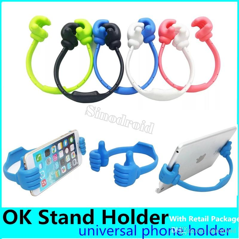 Universal Portable Holder Rubber Silicone OK Stand Thumb Design Tablet Phone Mount Holder for ipad Tablet PC iPhone X Samsung HTC 50PCS DHL