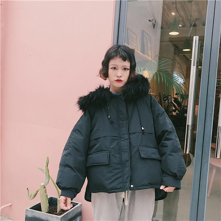 Fashion-New Korean Parka Coats Hooded Winter Warm Jacket Women Zipper Outwear Loose Harajuku Orange Black Parka