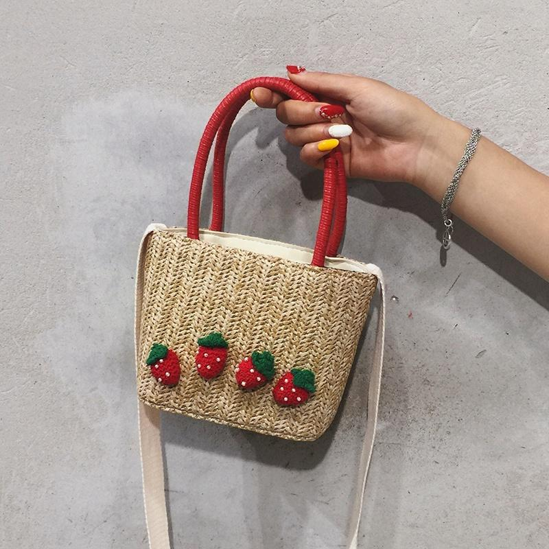 ASDS-Summer Straw Hand Bag Women Small Woven Bohemian Crossbody Messenger Bag Mini Cute Beach Shoulder Bags Strawberry