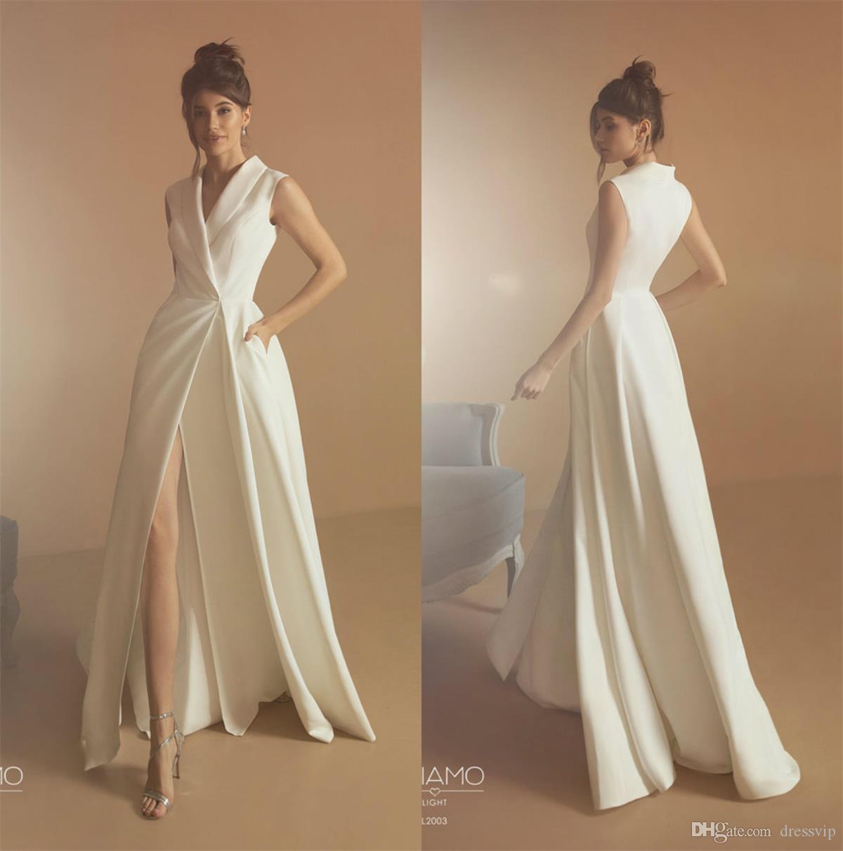 2020 Boho Wedding Dresses High Front Split Satin V Neck A Line Beach Wedding Dress Boho Custom Made Sweep Train Vestidos De Novia