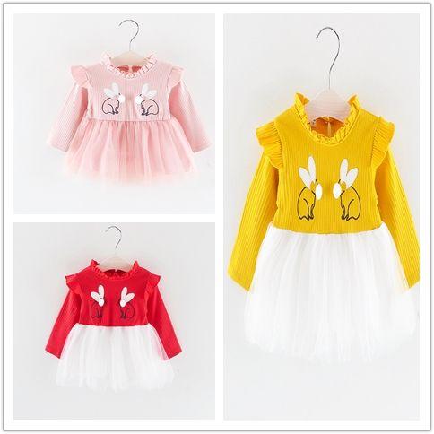 3-х цветов весной и осенью девочка Пачка платье младенца длинным рукавом кролика платье принцессы для 0-3 YRS