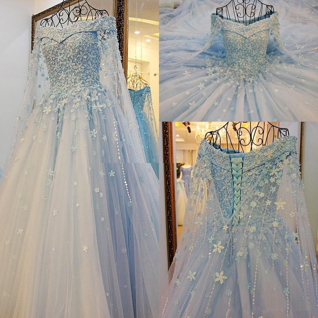 Sky Blue Princess Свадебные платья с длинным рукавом Sparkly Подробный 3D Цветочный Кристалл Handmade цветка плеча Свадебное платье Arabic