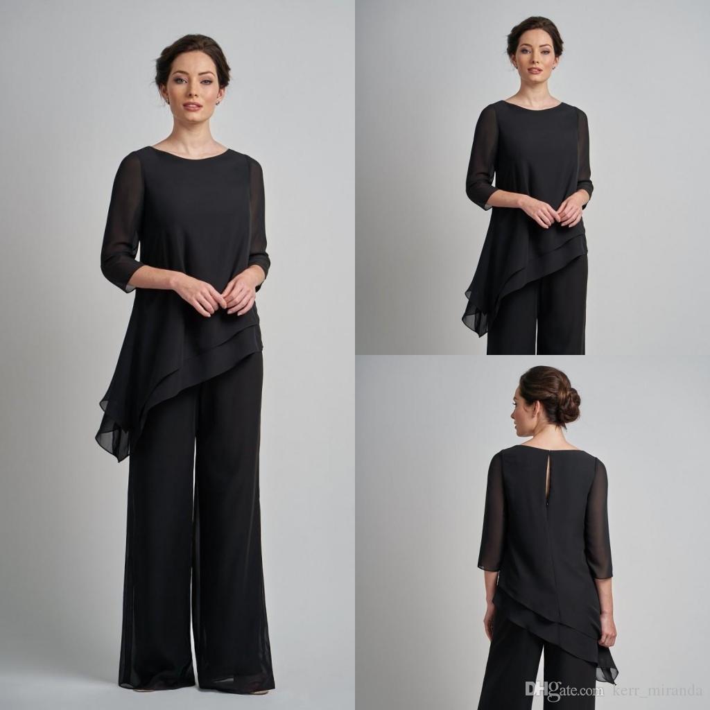 2020 Schwarz Pantsuits Mutter des Braut-Kleider Outfit Zwei Stücke Kleid-Kleid-Abend-Abnutzungs-Hose-Klagen für formales Garment Mütter Outfit