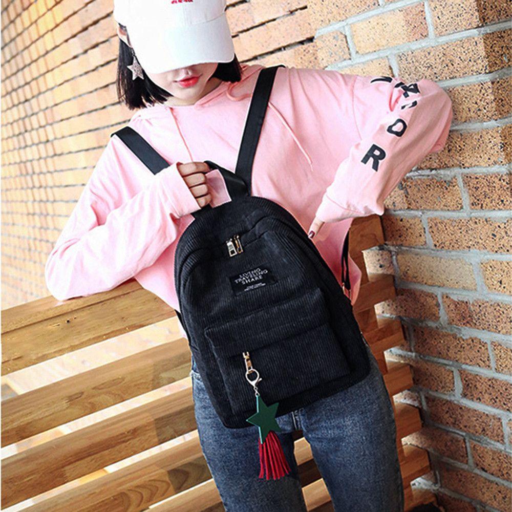 5#Shoulder Bag High quality Fashion girl color backpack female bag Women's Canvas Tassel School Bags Travel Backpack