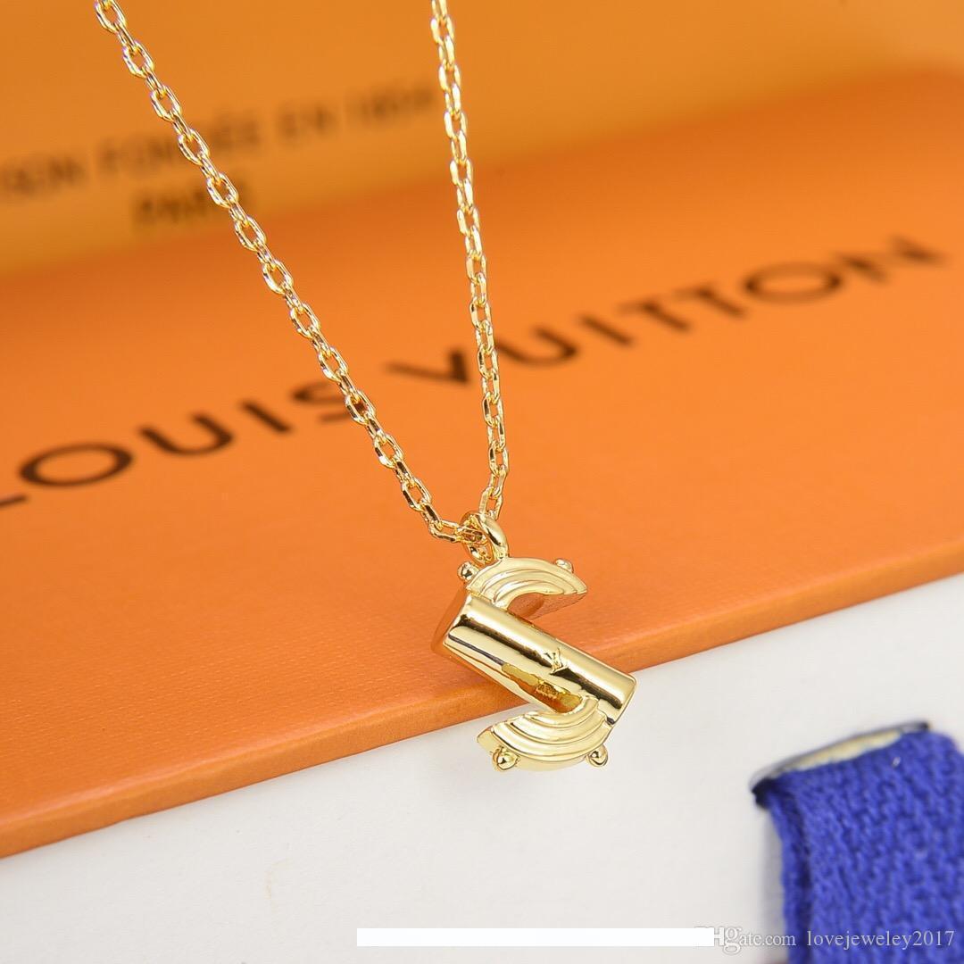 Luxus-Designer-Schmuck Frauen Halskette 26 Buchstaben Anhänger Halskette hochwertiger High-End-Goldkette elegante Halskette mit Alphabet