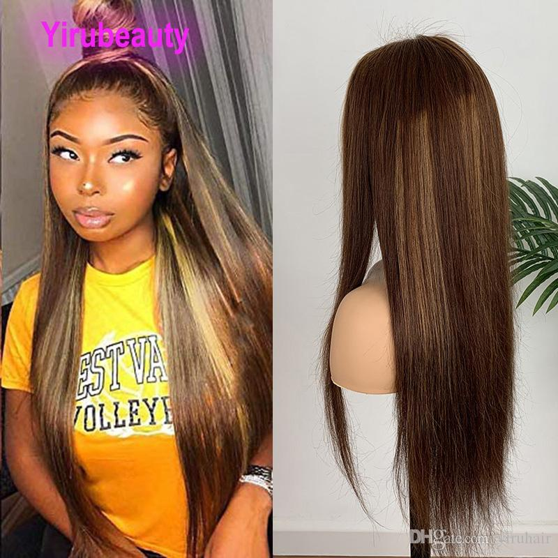Malaysian Human Hair 4 27# Lace Front Wig Silky Straight 4/27 Color 13*4 Lace Front Wigs Virgin Hair Products 8-28inch Adjustable
