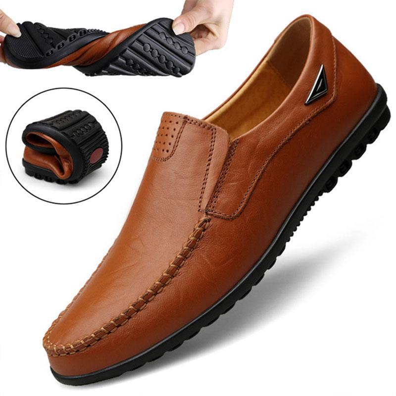 Gerçek Deri Erkek Moccasin Ayakkabı Siyah Erkekler Flats Nefes Casual İtalyan loafer'lar Rahat Artı boyutu 37-47 Sürüş Ayakkabı