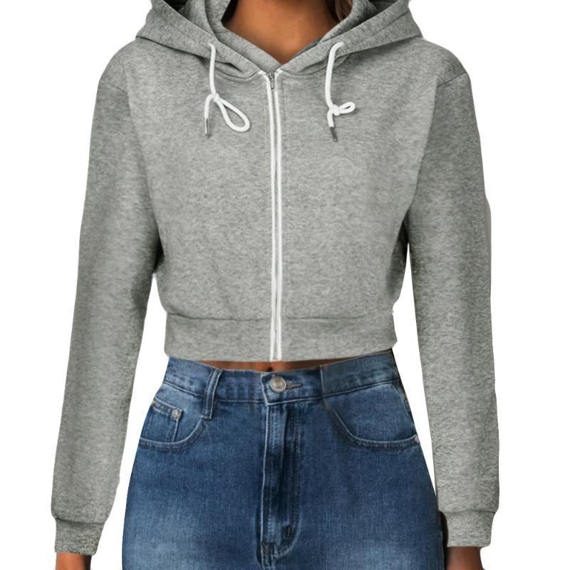 Moda Donna Solid Cotone Colore Coats Zip-up Autunno Felpe Tasche Slim Crop Abbigliamento coulisse Hoody 2020 # T2G