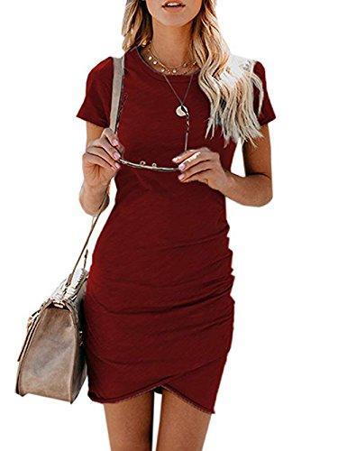 Voopptaw Womens Dress Summer Casual Short Sleeve Irregular Solid Color Bodycon Mini Dress