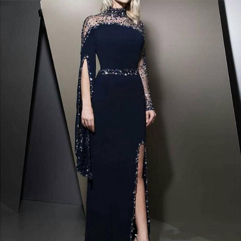 2020 새로운 공식 높은 목 네이비 블루 이브닝 드레스 카프 탄 두바이 파란색 긴 소매 파티 드레스 겸손한 가운 데 야회 분할 댄스 파티 드레스 (811)